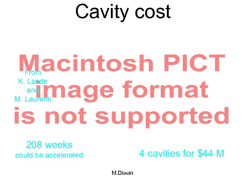 Cavity cost From K. Lande and M. Laurenti 208 weeks 4 cavities for $44