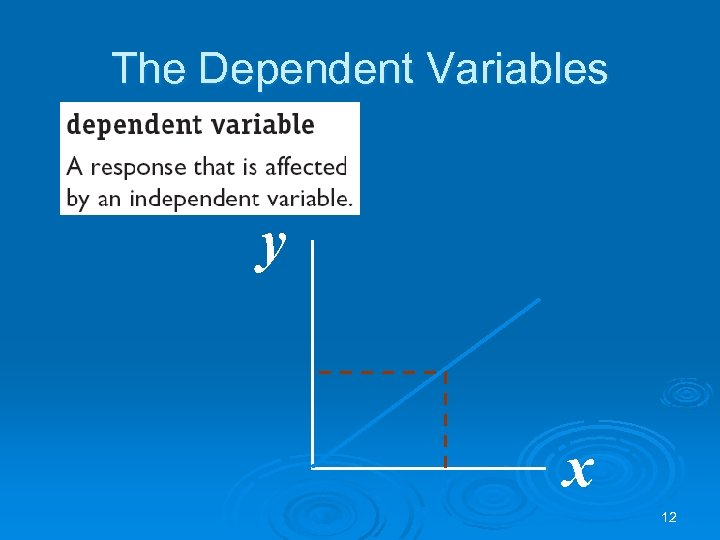 The Dependent Variables y x 12