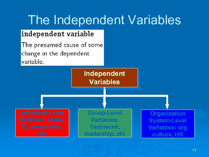 The Independent Variables Individual-Level Variables: ability, IQ, personality, etc Group-Level Variables: Teamwork, leadership, etc