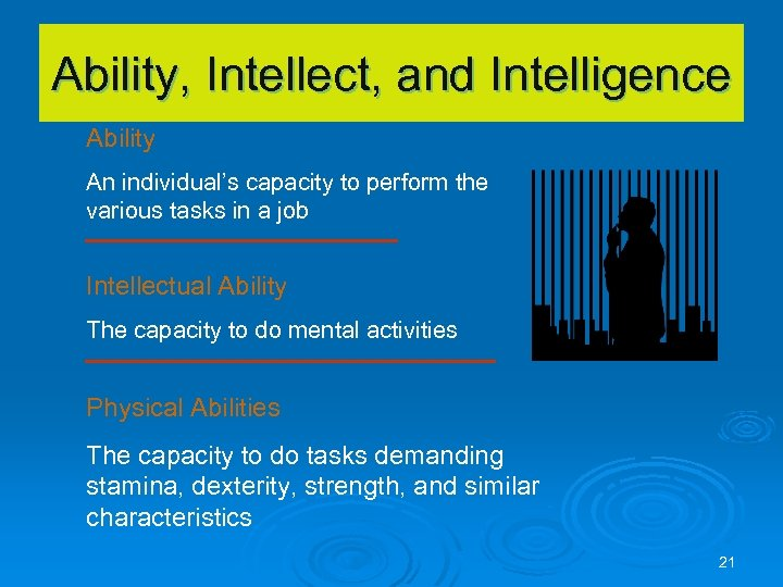 Ability, Intellect, and Intelligence Ability An individual's capacity to perform the various tasks in