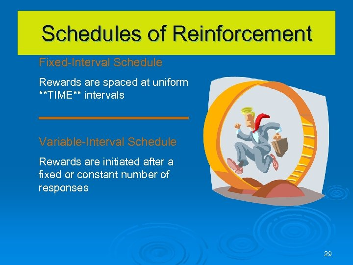 Schedules of Reinforcement Fixed-Interval Schedule Rewards are spaced at uniform **TIME** intervals Variable-Interval Schedule