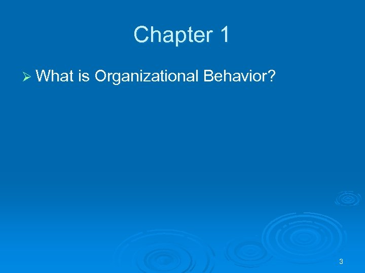 Chapter 1 Ø What is Organizational Behavior? 3