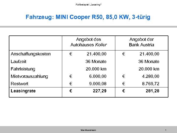 "Fallbeispiel ""Leasing"" Fahrzeug: MINI Cooper R 50, 85, 0 KW, 3 -türig Angebot des"