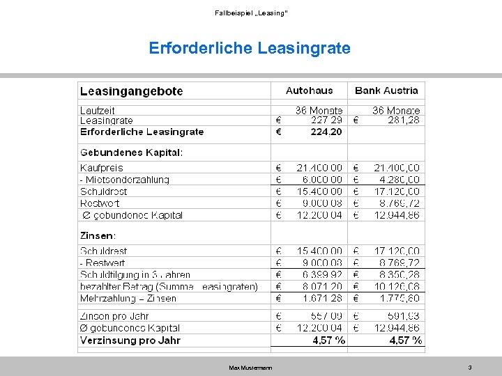 "Fallbeispiel ""Leasing"" Erforderliche Leasingrate Max Mustermann 3"