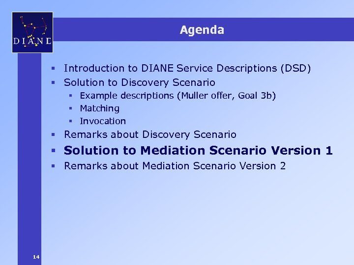 Agenda § Introduction to DIANE Service Descriptions (DSD) § Solution to Discovery Scenario §