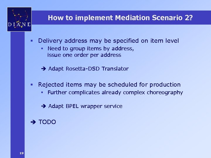 How to implement Mediation Scenario 2? § Delivery address may be specified on item