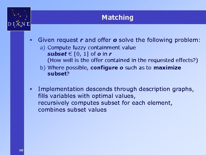 Matching § Given request r and offer o solve the following problem: a) Compute