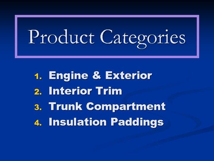 Product Categories 1. 2. 3. 4. Engine & Exterior Interior Trim Trunk Compartment Insulation