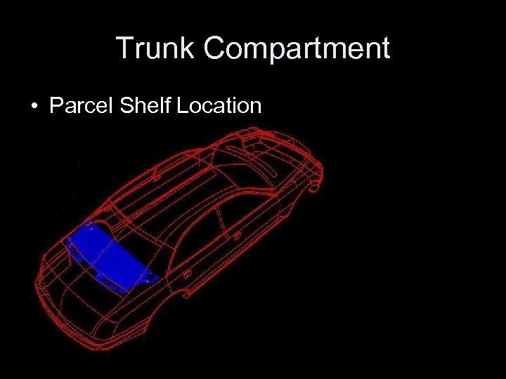 Trunk Compartment • Parcel Shelf Location