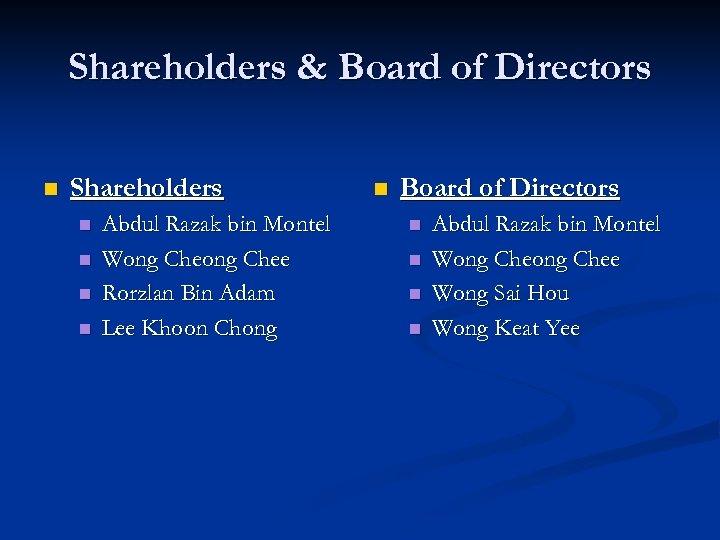 Shareholders & Board of Directors n Shareholders n n Abdul Razak bin Montel Wong