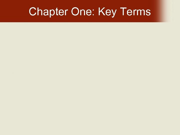 Chapter One: Key Terms