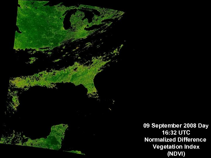 09 September 2008 Day 16: 32 UTC Normalized Difference Vegetation Index (NDVI)
