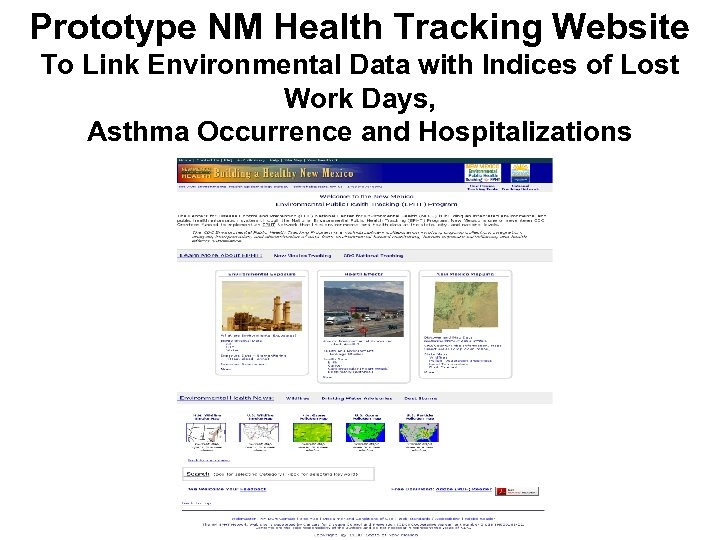 Prototype NM Health Tracking Website To Link Environmental Data with Indices of Lost Work