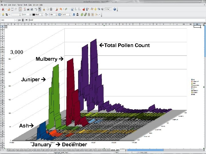 Total Pollen Count 3, 000 Mulberry Juniper Ash January December