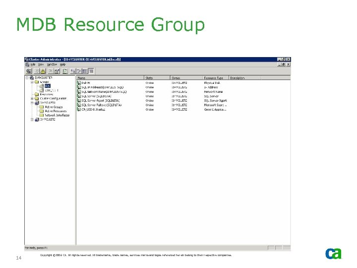 MDB Resource Group 14 Copyright © 2006 CA. All rights reserved. All trademarks, trade