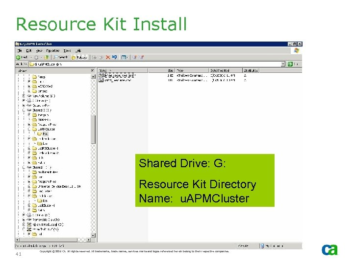 Resource Kit Install Shared Drive: G: Resource Kit Directory Name: u. APMCluster 41 Copyright