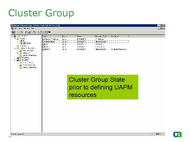 Cluster Group State prior to defining UAPM resources 44 Copyright © 2006 CA. All