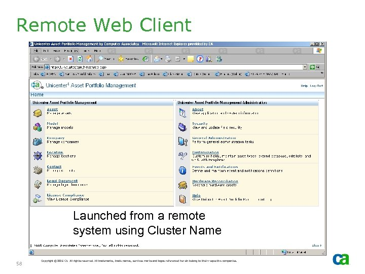 Remote Web Client Launched from a remote system using Cluster Name 58 Copyright ©
