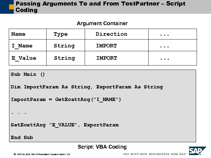 Passing Arguments To and From Test. Partner – Script Coding Argument Container Name Type