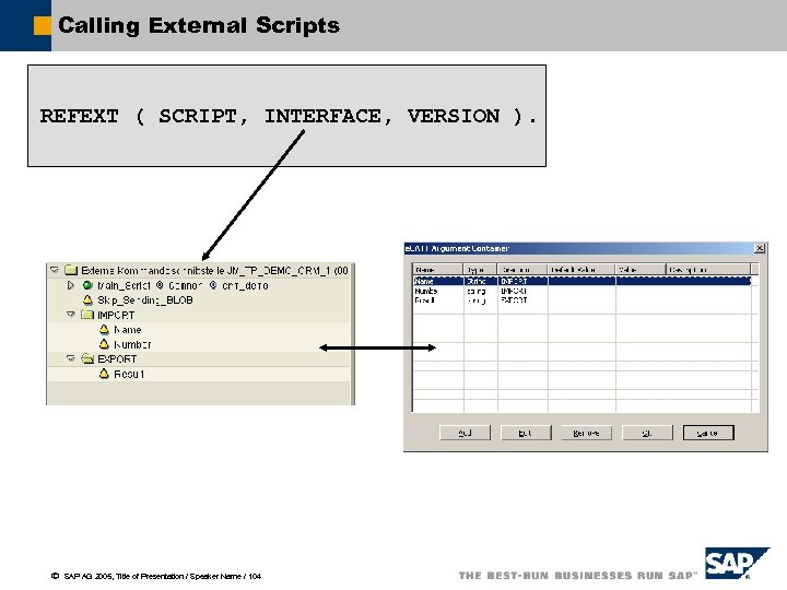 Calling External Scripts REFEXT ( SCRIPT, INTERFACE, VERSION ). ã SAP AG 2005, Title