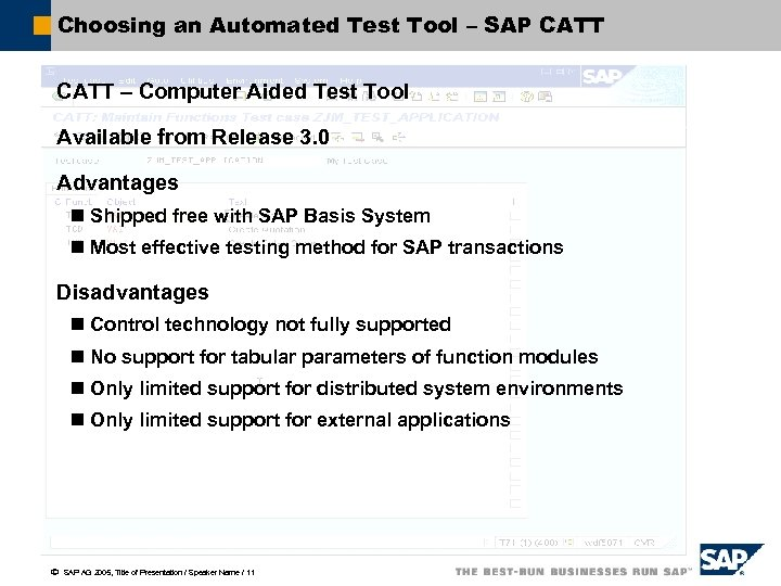 Choosing an Automated Test Tool – SAP CATT – Computer Aided Test Tool Available