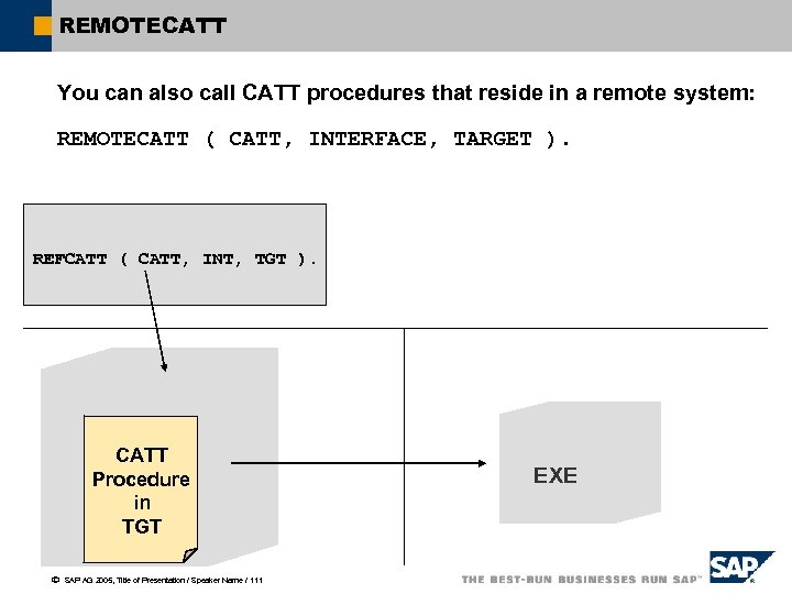 REMOTECATT You can also call CATT procedures that reside in a remote system: REMOTECATT