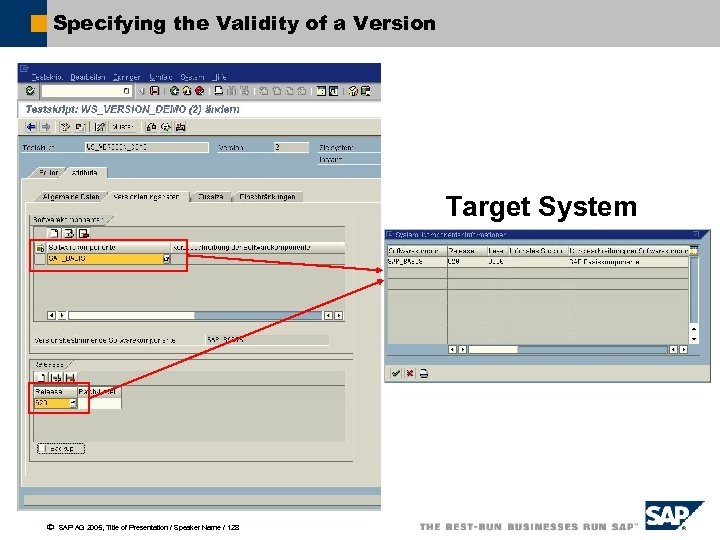 Specifying the Validity of a Version Target System ã SAP AG 2005, Title of