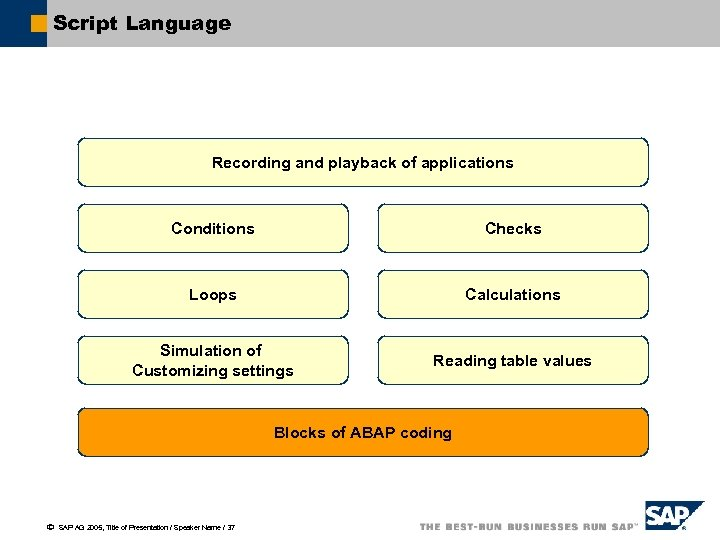 Script Language Recording and playback of applications Conditions Checks Loops Calculations Simulation of Customizing