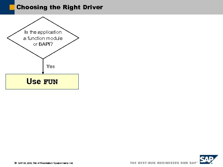 Choosing the Right Driver Is the application a function module or BAPI? Yes Use