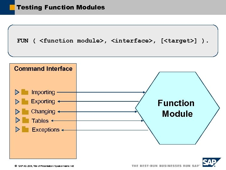 Testing Function Modules FUN ( <function module>, <interface>, [<target>] ). Command Interface Importing Exporting