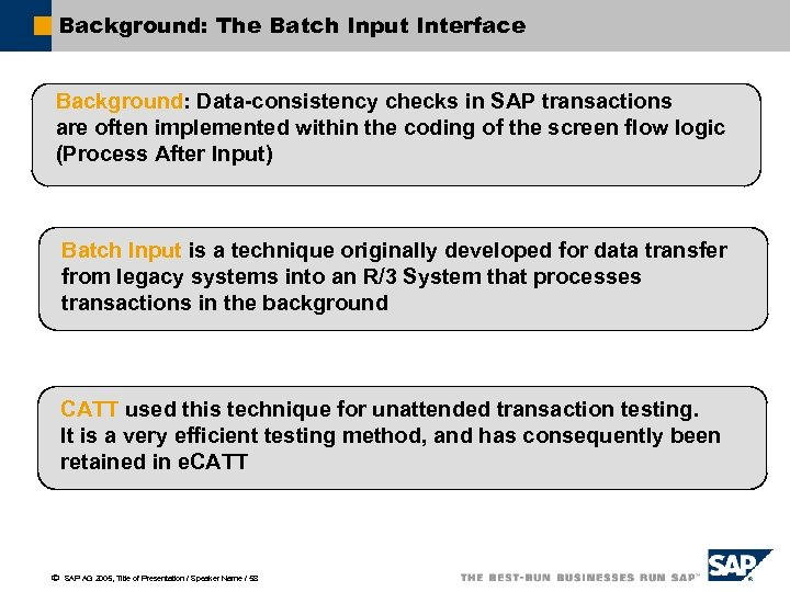 Background: The Batch Input Interface Background: Data-consistency checks in SAP transactions are often implemented