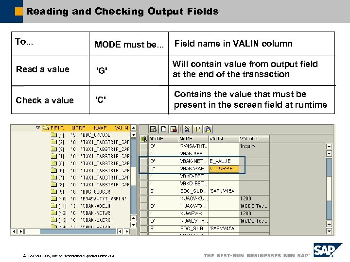 Reading and Checking Output Fields To. . . MODE must be. . . Field