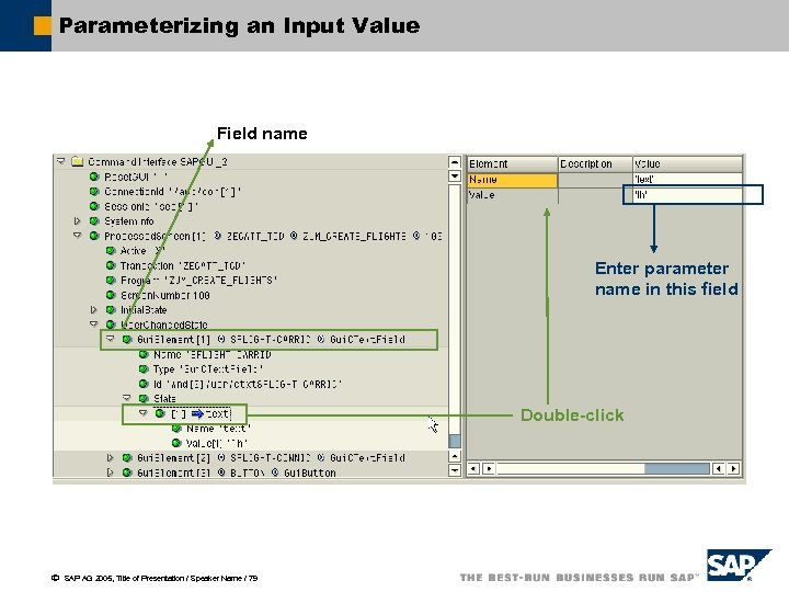 Parameterizing an Input Value Field name Enter parameter name in this field Double-click ã