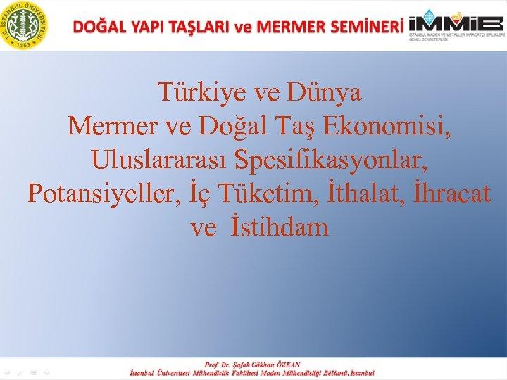 Türkiye ve Dünya Mermer ve Doğal Taş Ekonomisi, Uluslararası Spesifikasyonlar, Potansiyeller, İç Tüketim, İthalat,