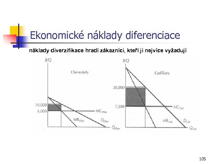 Ekonomické náklady diferenciace náklady diverzifikace hradí zákazníci, kteří ji nejvíce vyžadují 105