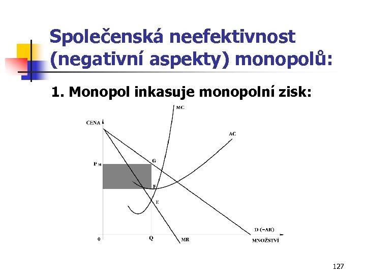 Společenská neefektivnost (negativní aspekty) monopolů: 1. Monopol inkasuje monopolní zisk: 127