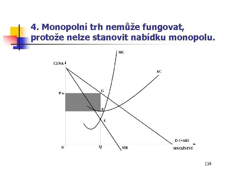 4. Monopolní trh nemůže fungovat, protože nelze stanovit nabídku monopolu. 134