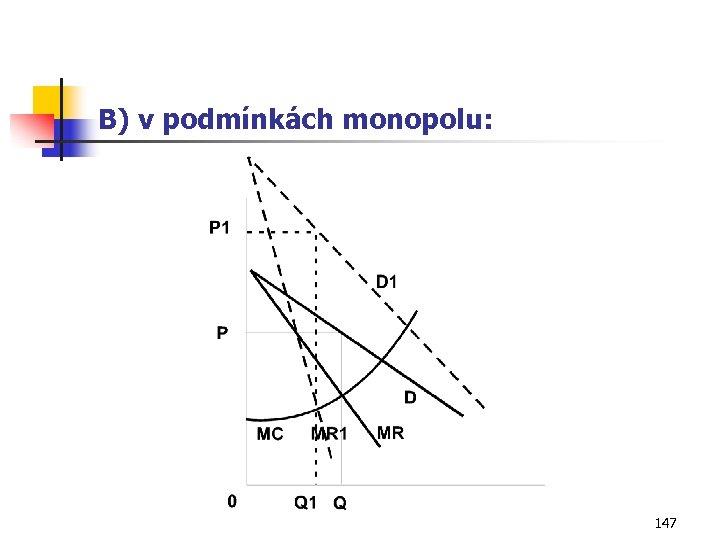 B) v podmínkách monopolu: 147