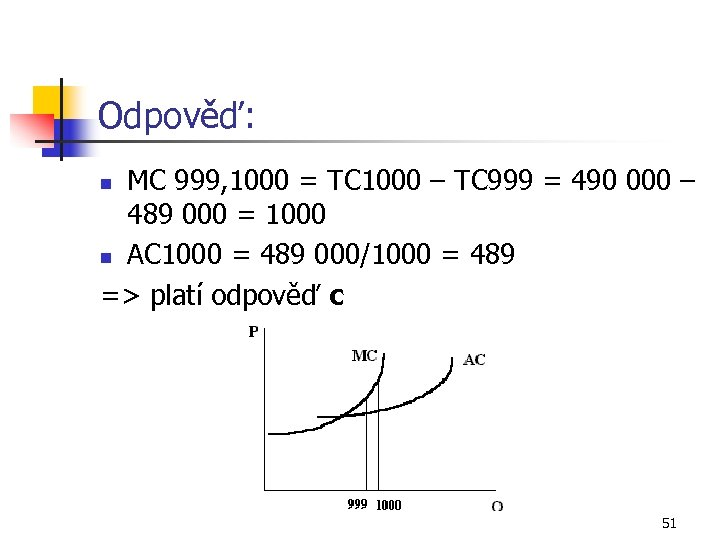 Odpověď: MC 999, 1000 = TC 1000 – TC 999 = 490 000 –