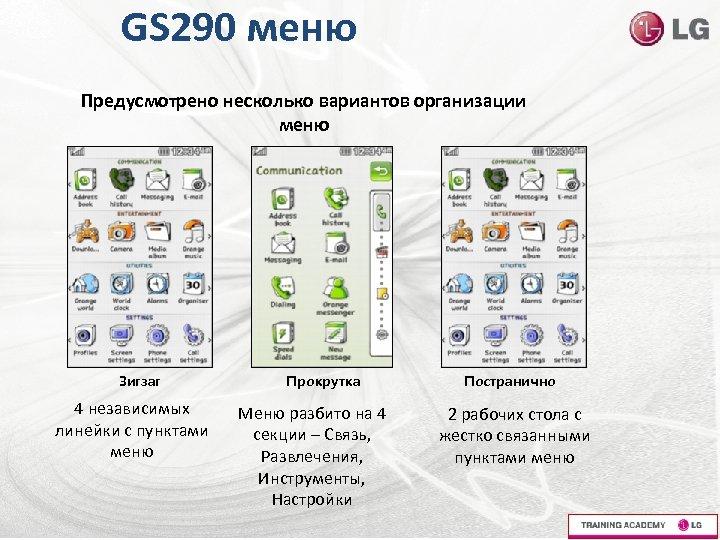 GS 290 меню Предусмотрено несколько вариантов организации меню Зигзаг 4 независимых линейки с пунктами