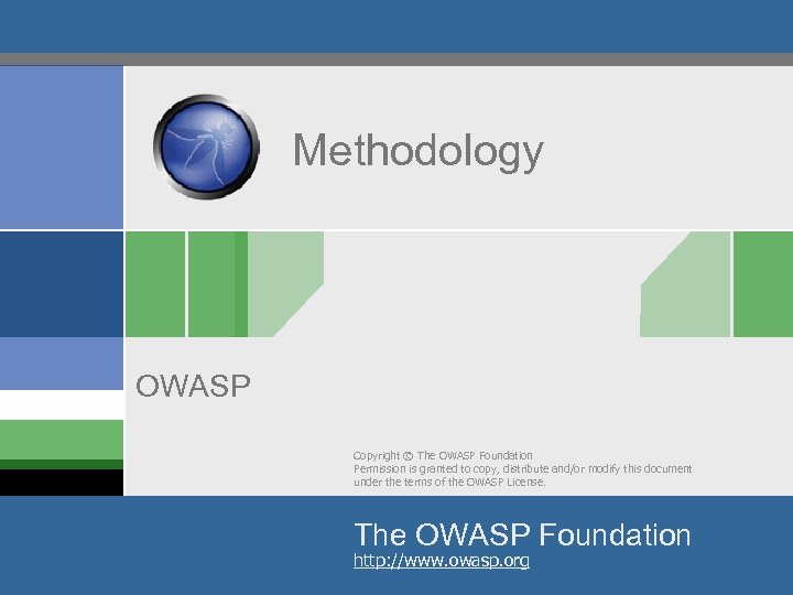 Methodology OWASP Copyright © The OWASP Foundation Permission is granted to copy, distribute and/or