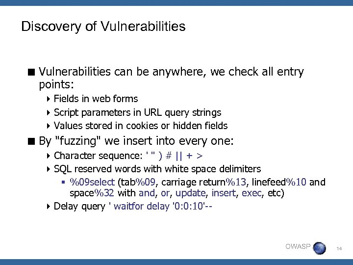 Discovery of Vulnerabilities < Vulnerabilities can be anywhere, we check all entry points: 4
