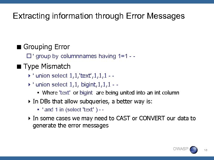 Extracting information through Error Messages < Grouping Error o ' group by columnnames having