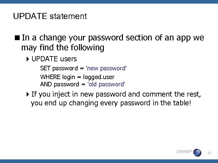 UPDATE statement <In a change your password section of an app we may find