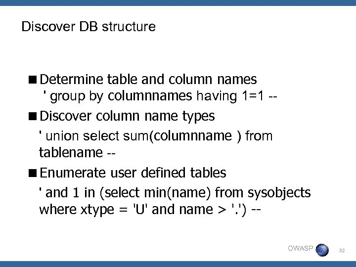 Discover DB structure <Determine table and column names ' group by columnnames having 1=1