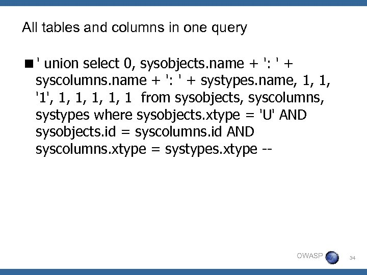 All tables and columns in one query <' union select 0, sysobjects. name +