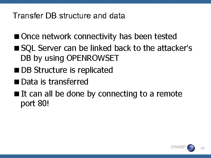 Transfer DB structure and data <Once network connectivity has been tested <SQL Server can
