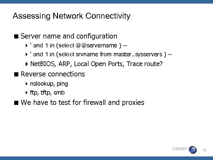 Assessing Network Connectivity < Server name and configuration 4 ' and 1 in (select