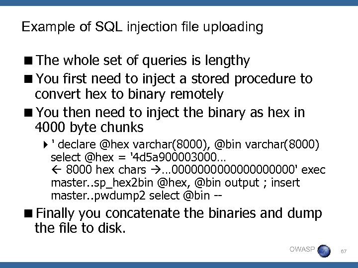 Example of SQL injection file uploading <The whole set of queries is lengthy <You