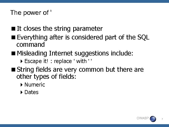 The power of ' <It closes the string parameter <Everything after is considered part